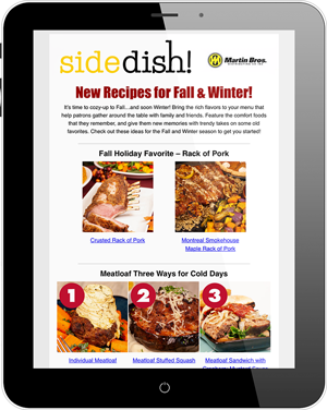 SideDish! newsletter on tablet
